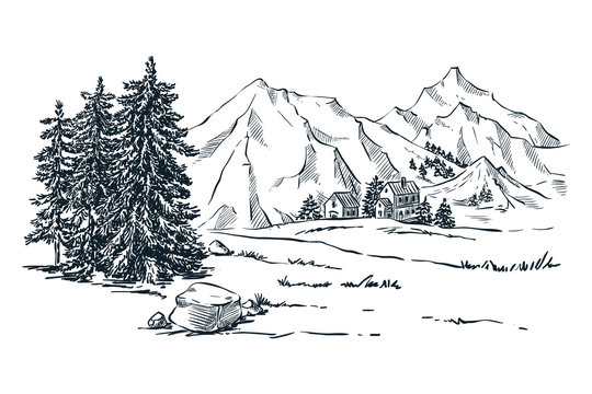 Mountains, spruce and pine trees landscape, vector sketch illustration. Hand drawn winter hills and forest.