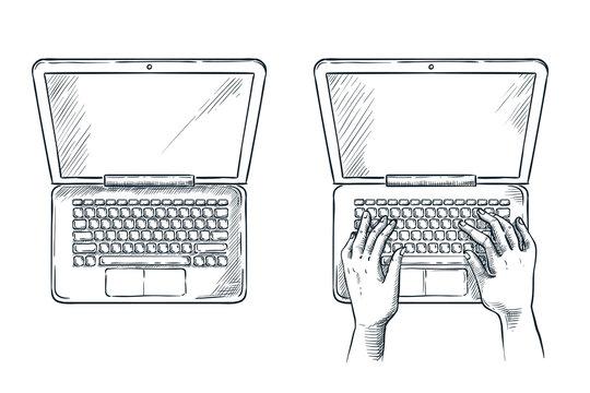 Human hands on laptop keypad, vector sketch illustration. Freelance job, programming concept.