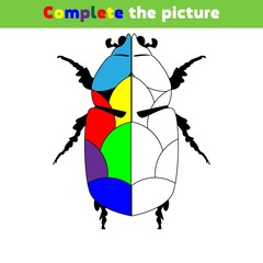 Complete the picture Education logic game for preschool kids. Vector Illustration