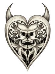 Art Devil Heart Mix Skull Tattoo. Hand drawing on paper.