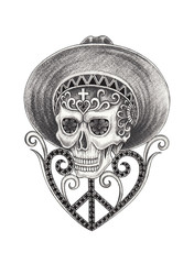 Art Vintage mix Skull Day of the dead. Hand drawing on paper.