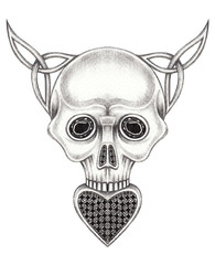 Art Celtic and gems mix Skull Tattoo. Hand drawing on paper.