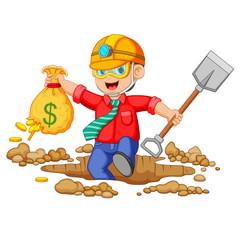 Businessman mining to find bitcoins