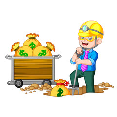 A businessman doing coin mining