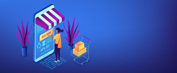 Online purchase concept isometric 3D banner header.