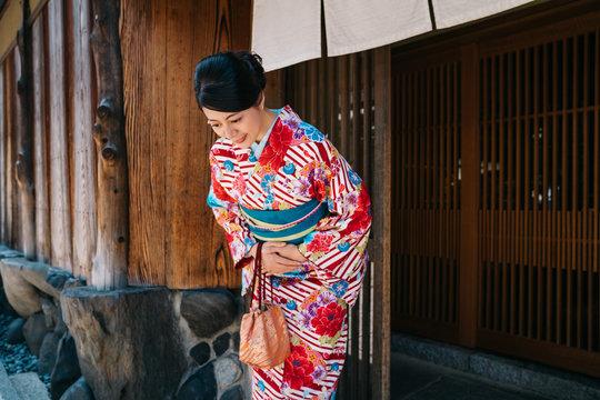 Japanese lady bowing with beautiful kimono