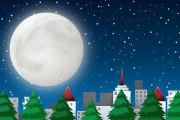 A winter night scene