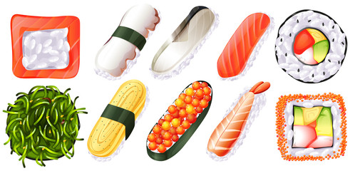 Set of sushi on white background