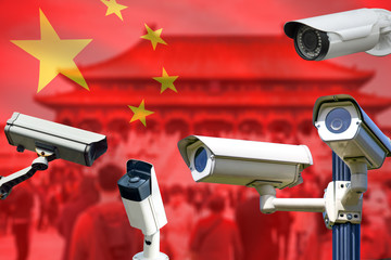Smart surveillance CCTV cameras, spies people, track identify, no privacy concept, in China.