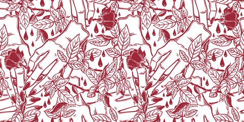 Linear art of a stylized female human hand holding a rose seamless pattern..