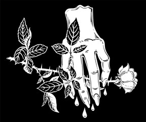 Female evil bleeding human hand holding a rose.