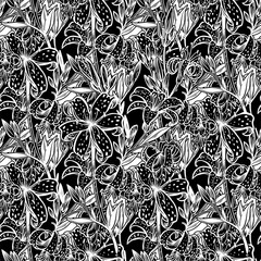 Wild summer lilium flowers Lily seamless pattern.