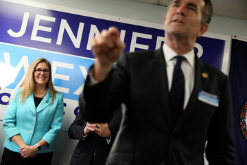 Virginia Governor Northam speaks to supporters at a campaign event for Virginia Democratic candidate for U.S. Representative Wexton in Sterling, Virginia