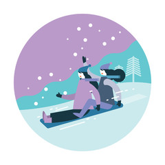 Couple woman Sledding on snow. Winter activity. flat icon design. vector illustration