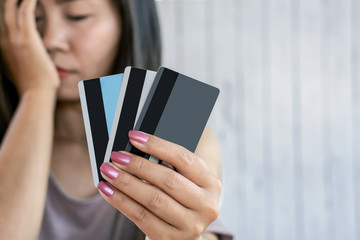 depressed Asian woman having problem no money for debt from credit cards