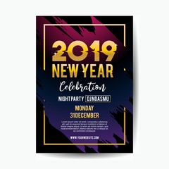 2019 new year celebration poster template for music party