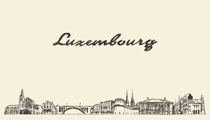 Wall Mural - Luxembourg big skyline vector city drawn sketch