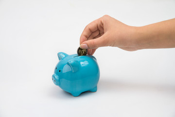 Hand of woman with piggy bank isolated white background
