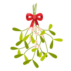 Mistletoe with red bow