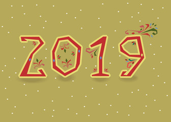 New Year 2019. Artistic red number with folk floral decor. Yellow background with snowfall. Vector Illustration