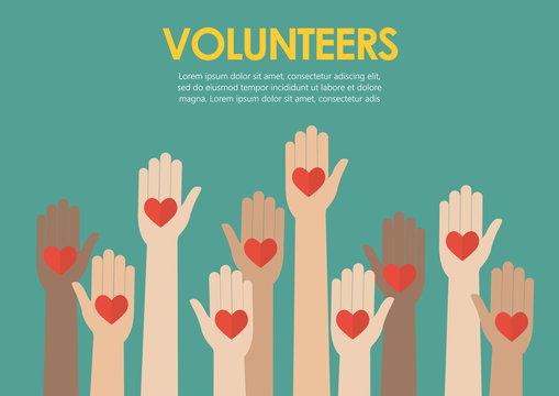 Raised hands volunteers concept
