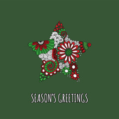 Christmas star doodle illustration with flowers, swirls and abstract shapes and Season's Greetings underneath on a dark green background