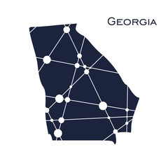 Image relative to USA travel. Georgia state map textured by lines and dots pattern