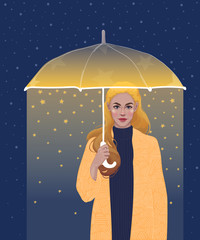 vector of a beautiful girl blonde with golden hair, wearing a coat on her, holding a shining umbrella in her hands, from which stars are falling
