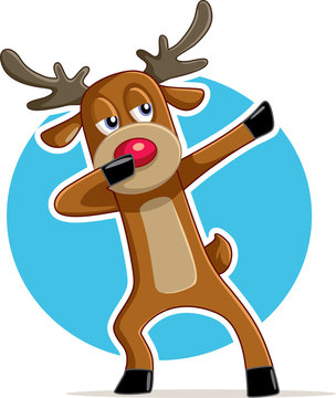 Funny Dabbing Reindeer Vector Cartoon