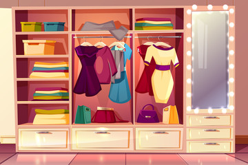 Vector cartoon dressing room of a woman. Wardrobe with clothes, hangers with costumes and big illuminated mirror. Bright background with cloakroom, boxes and purses. Interior of checkroom.