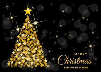 Christmas tree, vector postcard or greeting. Golden stars, wealth and prosperity concept.
