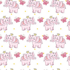 cartoon butterfly, baby pink elephant with yellow crown