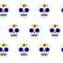 Vector illustration. Day of the dead poster, banner, card. Dia de los muertos icon on white background. Set of colourful sculls. Seamess pattern.
