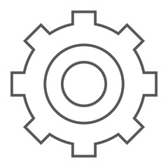 Settings thin line icon, technology and service, gear sign, vector graphics, a linear pattern on a white background.