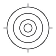Target thin line icon, focus and goal, aim sign, vector graphics, a linear pattern on a white background.
