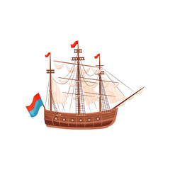 Wooden ship with beige sails and bright flags. Marine vessel. Sea and ocean theme. Flat vector element for banner or poster