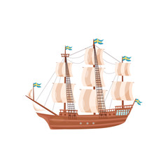 Large wooden ship with beige sails and blue flags with yellow crosses. Large sea craft. Marine theme. Flat vector icon