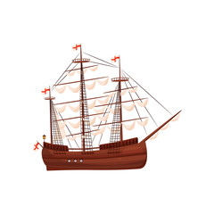 Old wooden ship with sails and flags with red crosses. Big marine vessel. Element for middle ages theme. Flat vector icon
