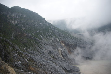 The crater of Tangkuban Perahu in Bandung, Indonesia