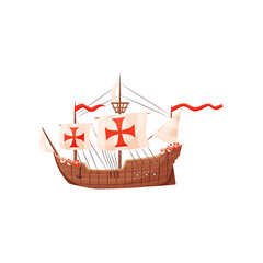 Old wooden ship with shields and sails with red crosses, symbol of Knights Templar. Medieval water transport. Flat vector icon