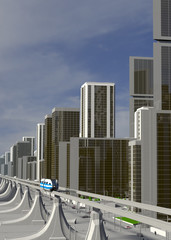 Futuristic City 3d-Illustration