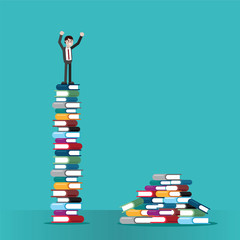 Man on stack of books