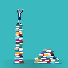 woman on stack of books