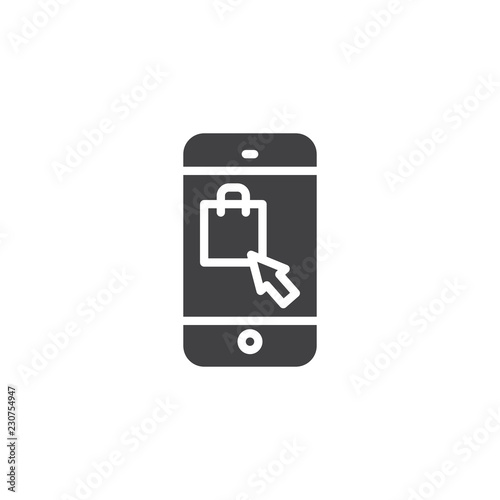 e6e9c14a598 Online shopping vector icon. filled flat sign for mobile concept and web  design. Mobile phone with shopping bag on screen simple solid icon. Symbol