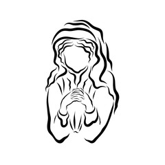 Praying woman with a headscarf or the Virgin Mary