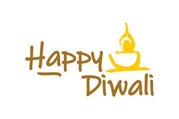 Diwali festival logo design vector template. Candle hand drawn sketch with text