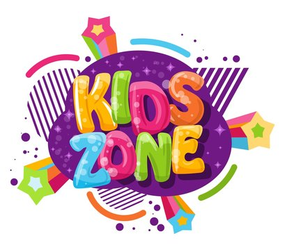 Kids zone cartoon inscription on a white background. Vector illustration. Playground and game banner for children with colored letters