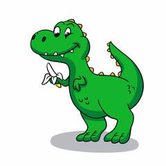dinosaur eating banana Vector illustration