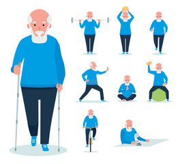 elderly man is engaged in weightlifting,man and dumbbells. Active sport concept set. Cartoon flat style illustration on white background.