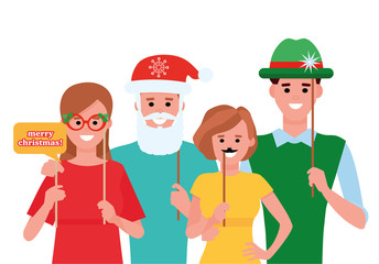 Group of friends laughing on Christmas Party with photo booth. Cartoon flat style illustration on white background.